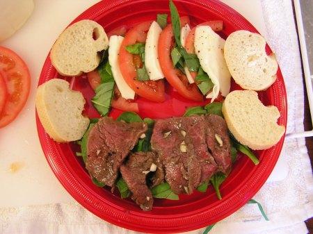 carpaccio and tomato/mozzarella salad ready to serve