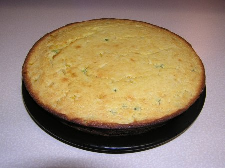 Cornbread turned out and ready to eat