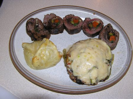 Brie, Ratatouille and Beef Roll, ready to eat